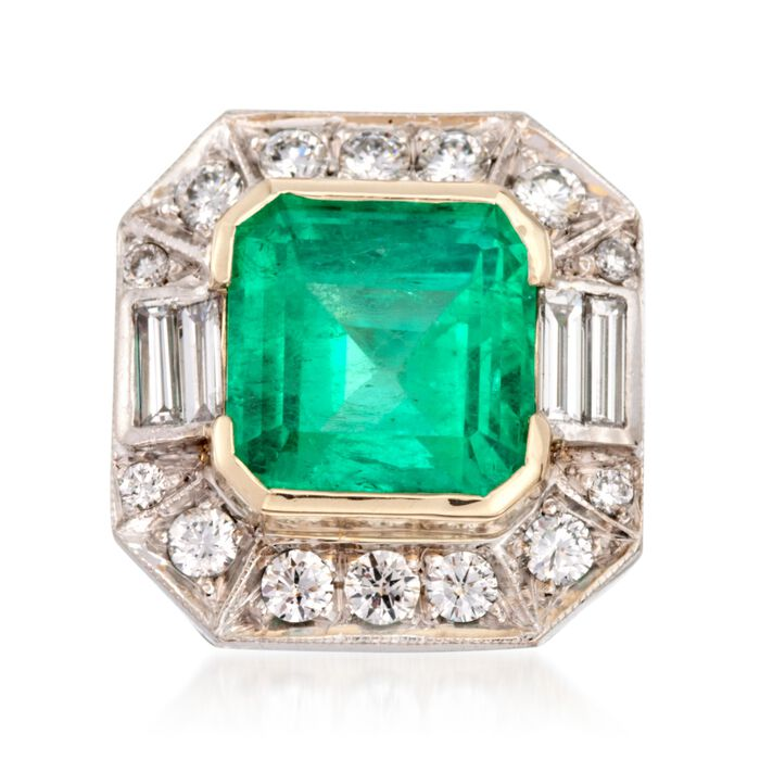C. 1990 Vintage 7.74 Carat Emerald and 1.60 ct. t.w. Diamond Ring in 18kt Two-Tone Gold. Size 6.5, , default
