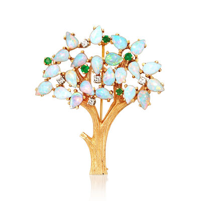 C. 1970 Vintage Opal and .35 ct. t.w. Emerald with .15 ct. t.w. Diamond Tree Pin in 14kt Yellow Gold, , default