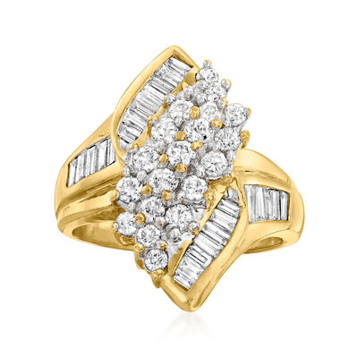 C. 1980 Vintage 2.50 ct. t.w. Diamond Cluster Ring in 14kt Yellow Gold