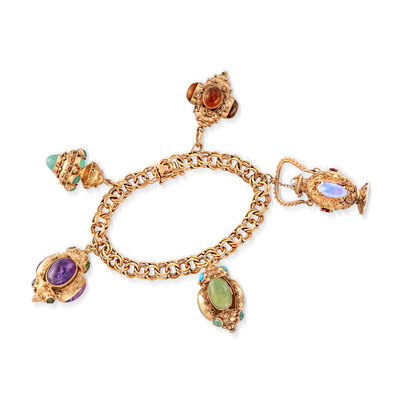 C. 1980 Vintage Multi-Stone Charm Bracelet in 14kt Yellow Gold, , default
