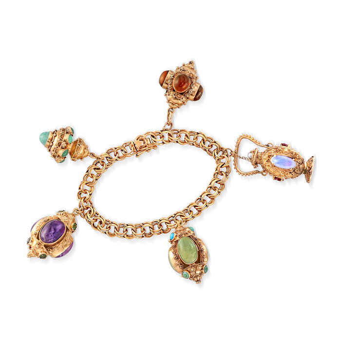 "C. 1980 Vintage Multi-Stone Charm Bracelet in 14kt Yellow Gold. 7"", , default"