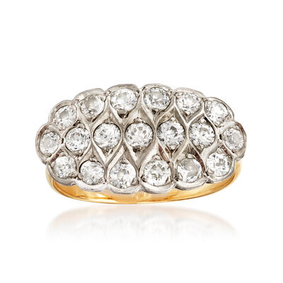 C. 1940 Vintage 1.10 ct. t.w. Diamond Cluster Ring in 14kt Two-Tone Gold