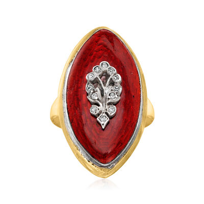 C. 1930 Vintage Red Enamel Ring with Rhinestones in 9kt Yellow Gold