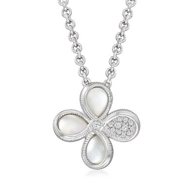 """Judith Ripka """"Jardin"""" Mother-Of-Pearl and .17 ct. t.w. Diamond Flower Necklace in Sterling Silver"""