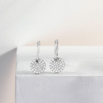 Gabriel Designs .48 ct. t.w. Diamond Disc Hoop Earrings in 14kt White Gold. Hoop Earrings, , default