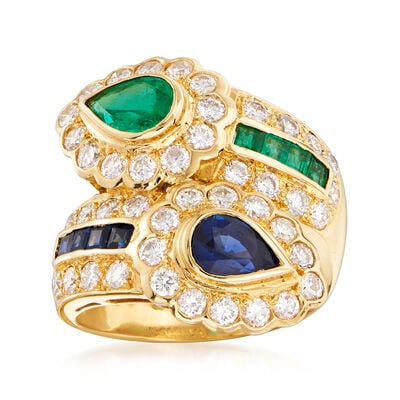 C. 1980 Vintage 1.76 ct. t.w. Diamond, 1.04 ct. t.w. Sapphire and .76 ct. t.w. Emerald Bypass Ring in 18kt Yellow Gold, , default