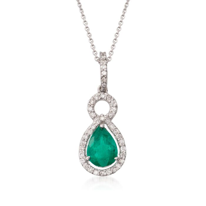 "1.85 Carat Total Weight Emerald and .40 Carat Total Weight Diamond Necklace in 14-Karat White Gold. 16"", , default"