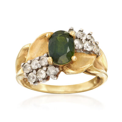 C. 1980 Vintage 1.85 ct. t.w. Green and White Sapphire Ring in 14kt Yellow Gold, , default