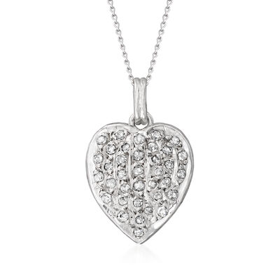 C. 1980 Vintage .36 ct. t.w. Diamond Heart Pendant Necklace in 10kt and 14kt White Gold