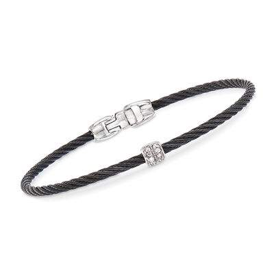 "ALOR ""Noir"" Black Cable Station Bracelet with Diamond Accents and 18kt White Gold"