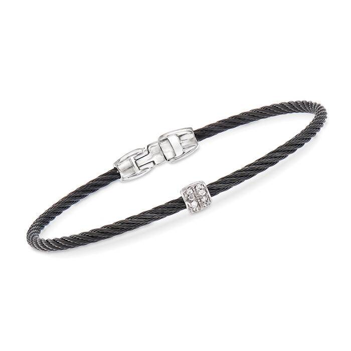 "ALOR ""Noir"" Black Cable Station Bracelet with Diamond Accents and 18kt White Gold. 7"""