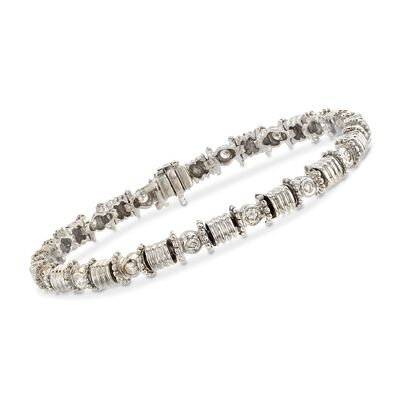 C. 1990 Vintage .75 ct. t.w. Diamond Barrel-Link Bracelet in 14kt White Gold, , default