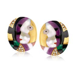 C. 2000 Vintage Asch Grossbardt Multi-Stone and .35 ct. t.w. Diamond Cubism Clip-On Earrings in 18kt Yellow Gold, , default