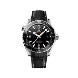 Omega Seamaster Planet Ocean Men's 43.5mm Stainless Steel Watch With Black Dial and Leather Strap, , default