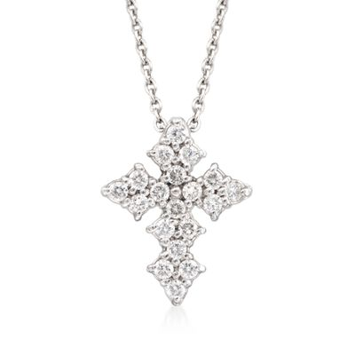 Roberto Coin .16 ct. t.w. Diamond Cross Necklace in 18kt White Gold, , default