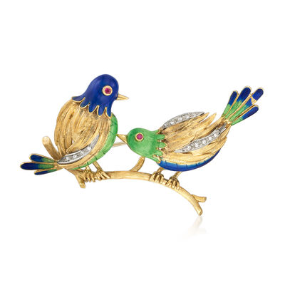 C. 1970 Vintage .15 ct. t.w. Diamond Bird Pin with Multicolored Enamel and Ruby Accents in 18kt Yellow Gold