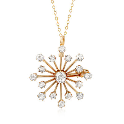 C. 1930 Vintage 2.90 ct. t.w. Diamond Starburst Pin/Pendant in 14kt Yellow Gold, , default