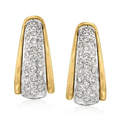 C. 1980 Vintage 1.35 ct. t.w. Diamond J-Hoop Earrings in 14kt Two-Tone Gold