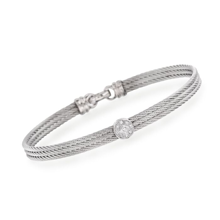"ALOR Classique Diamond Station Bangle in Stainless Steel and 18-Karat White Gold. 7"", , default"