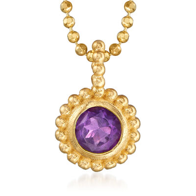 "Phillip Gavriel ""Popcorn"" .20 Carat Amethyst Beaded Necklace in 14kt Yellow Gold"