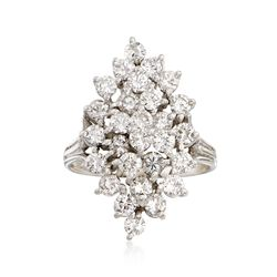 C. 1970 Vintage 2.00 ct. t.w. Diamond Cluster Ring in 14kt White Gold, , default