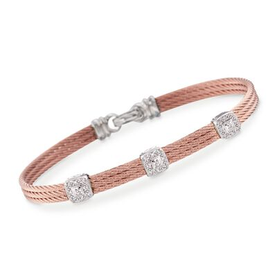 "ALOR ""Classique"" .14 ct. t.w. Diamond Triple-Station Rose Cable Bracelet with 18kt White Gold"