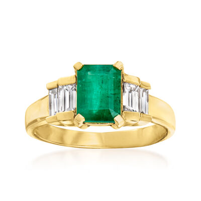 1.60 Carat Emerald and .80 ct. t.w. Diamond Ring in 14kt Yellow Gold