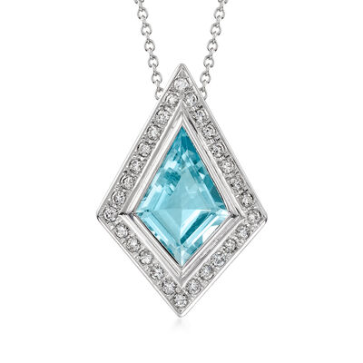 C. 1990 Vintage 4.14 Carat Aquamarine and .50 ct. t.w. Diamond Pendant Necklace in Platinum