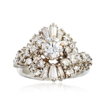 C. 1970 Vintage 2.00 ct. t.w. Diamond Cluster Ring in 18kt White Gold, , default