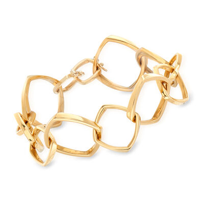 C. 1990 Vintage Tiffany Jewelry Geometric Link Bracelet in 18kt Yellow Gold, , default