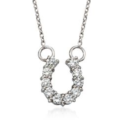 "Roberto Coin ""Tiny Treasures"" .23 ct. t.w. Diamond Horseshoe Necklace in 18kt White Gold , , default"