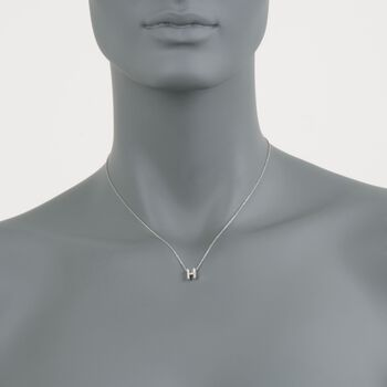 "Roberto Coin Tiny Treasures Diamond H Necklace in 18-Karat White Gold. 16"", , default"