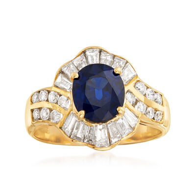 C. 1980 Vintage 1.90 Carat Sapphire and 1.15 ct. t.w. Diamond Ring in 18kt Yellow Gold