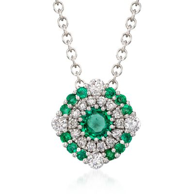 Gregg Ruth .40 ct. t.w. Emerald and .23 ct. t.w. Diamond Necklace in 18kt White Gold