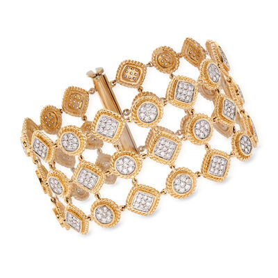 C. 2000 Vintage 7.00 ct. t.w. Pave Diamond Wide Bracelet in 14kt Two-Tone Gold