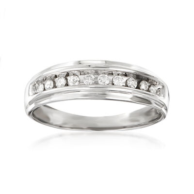 C. 1990 Vintage Men's .25 ct. t.w. Diamond Wedding Band in 10kt White Gold, , default