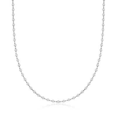 C. 1980 Vintage 3.66 ct. t.w. Diamond Station Necklace in Platinum