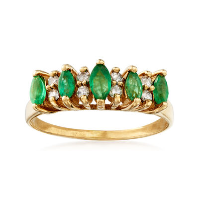 C. 1980 Vintage .50 ct. t.w. Emerald and .15 ct. t.w. Diamond Ring in 14kt Yellow Gold, , default