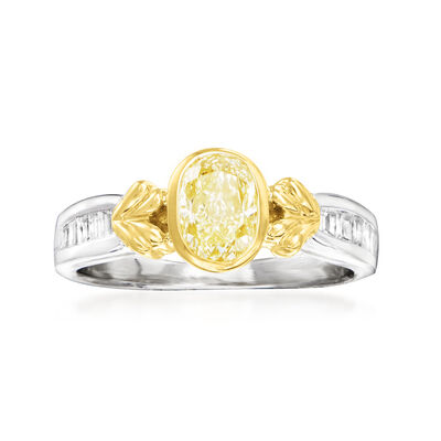 C. 2000 Vintage 1.05 ct. t.w. Yellow and White Diamond Ring in Platinum and 18kt Yellow Gold