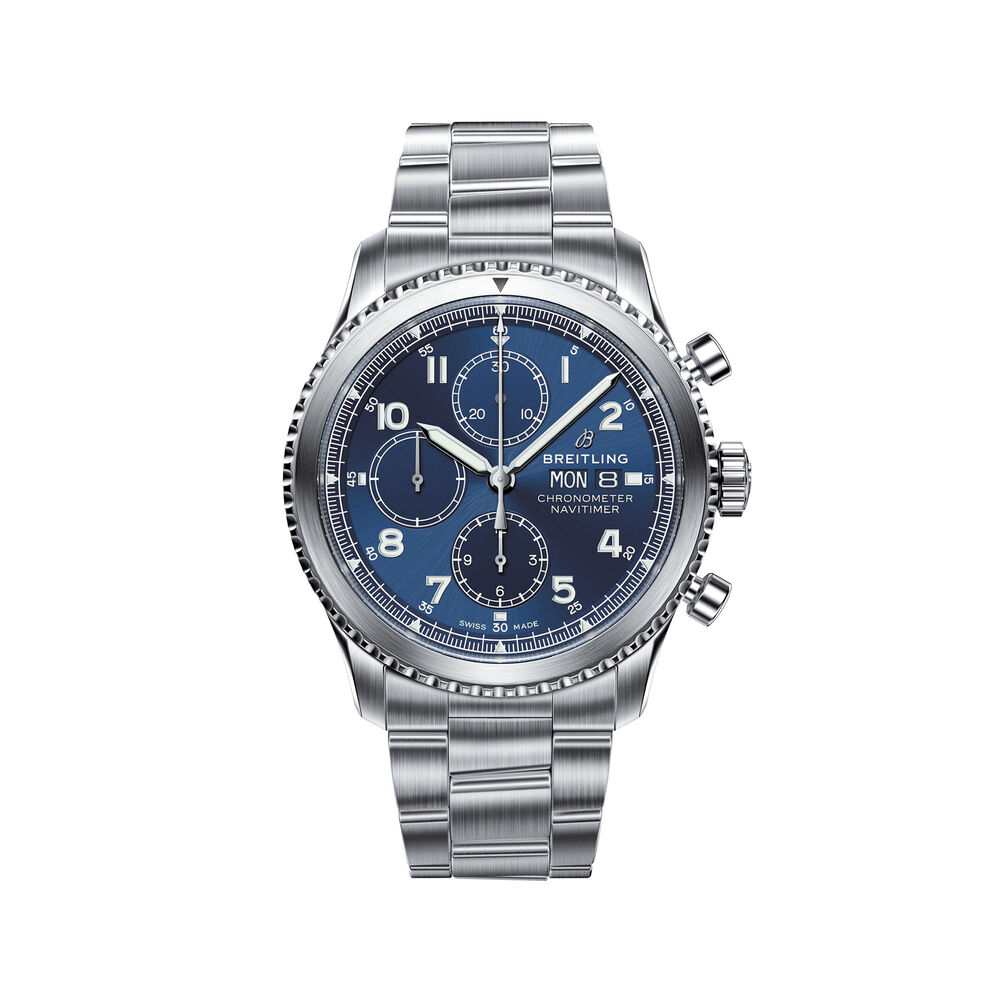 Breitling Navitimer 8 Chronograph Men S 43mm Stainless Steel Watch Blue Dial