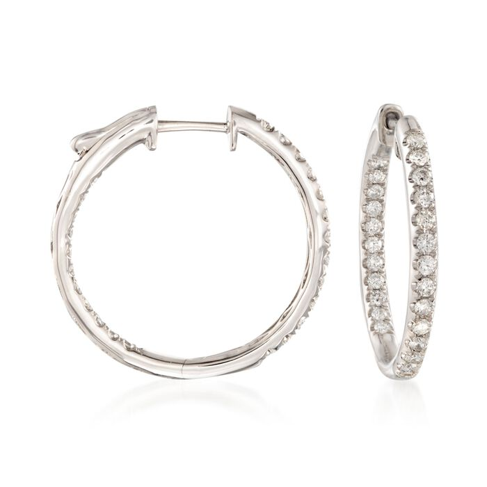 1.00 Carat Total Weight Diamond Hoops in 14-Karat White Gold, , default