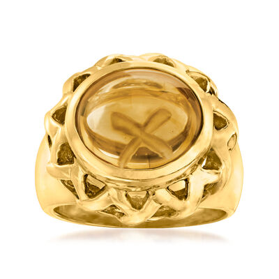 """C. 1980 Vintage Tiffany Jewelry """"Paloma Picasso"""" 5.00 Carat Citrine Ring in 18kt Yellow Gold"""
