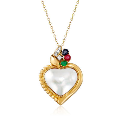 C. 1980 Vintage Cultured Mabe Pearl and .55 ct. t.w. Multi-Gem Heart Pendant Necklace with .13 ct. t.w. Diamonds in 14kt and 18kt Yellow Gold