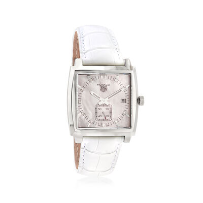 TAG Heuer Monaco Women's 37mm Stainless Steel Watch with Diamond Accents and White Alligator, , default