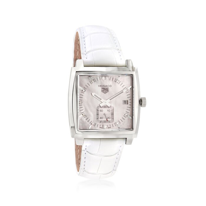 TAG Heuer Monaco Women's 37mm Stainless Steel Watch with Diamond Accents and White Alligator , , default