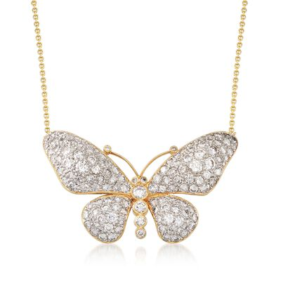 C. 1980 Vintage 4.50 ct. t.w. Diamond Butterfly Necklace in 14kt and 18kt Yellow Gold, , default