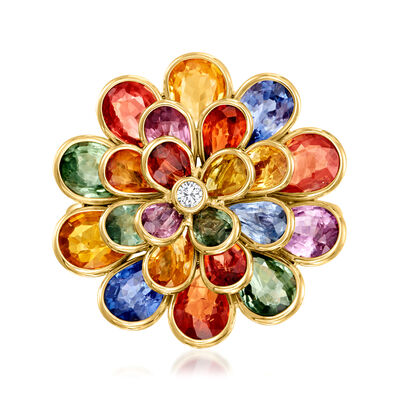 C. 1990 Vintage 7.40 ct. t.w. Multicolored Sapphire Flower Ring with Diamond Accents in 18kt Yellow Gold