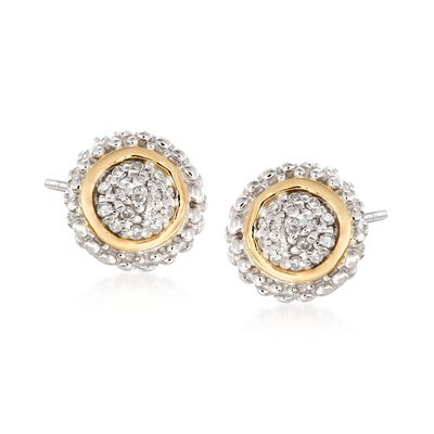 "Phillip Gavriel ""Popcorn"" .16 ct. t.w. Diamond Stud Earrings in Sterling Silver and 18kt Gold, , default"