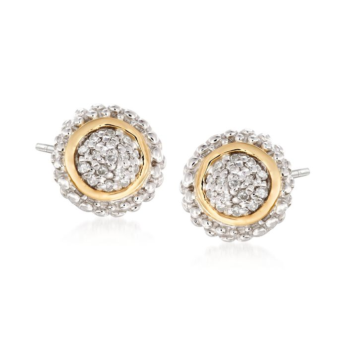 "Phillip Gavriel ""Popcorn"" .16 ct. t.w. Diamond Stud Earrings in Sterling Silver and 18kt Gold"