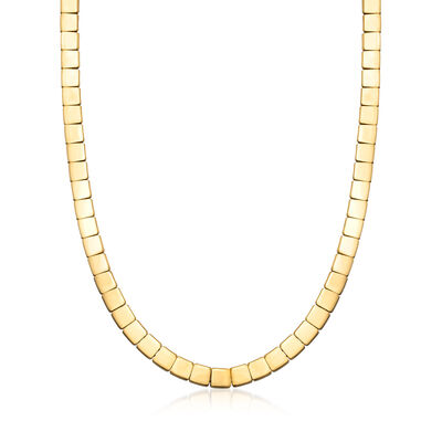 C. 2002 Vintage Tiffany Jewelry 18kt Yellow Gold Square-Link Necklace, , default